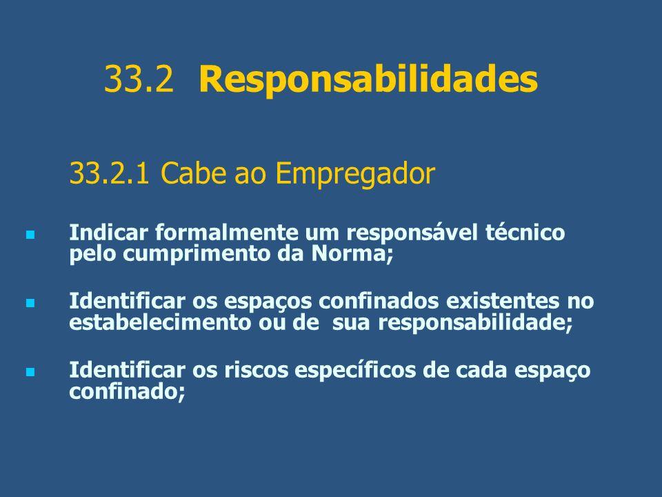33.2 Responsabilidades 33.2.1 Cabe ao Empregador. Indicar formalmente um responsável técnico pelo cumprimento da Norma;
