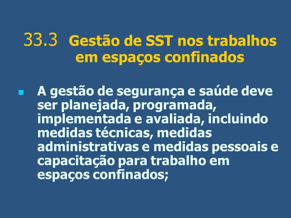 33.3 Gestão de SST nos trabalhos em espaços confinados