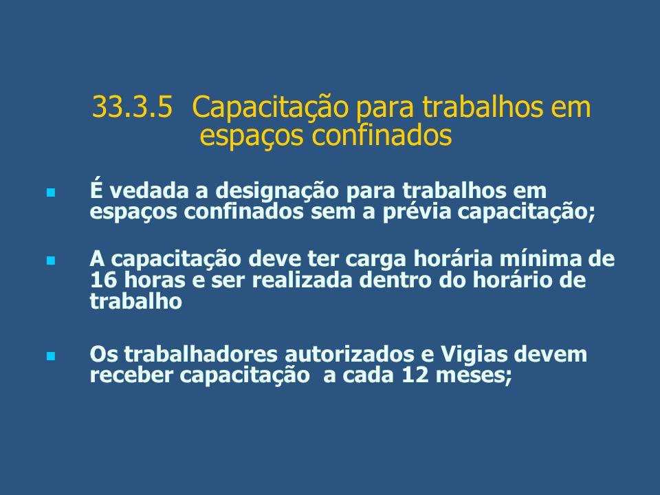 33.3.5 Capacitação para trabalhos em espaços confinados