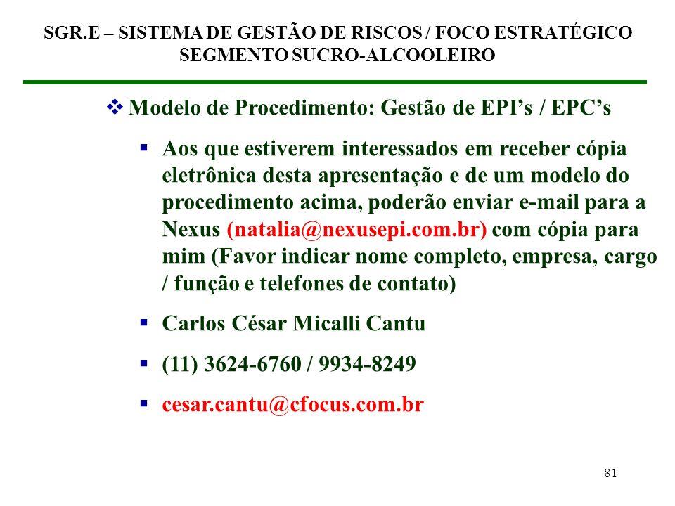 Modelo de Procedimento: Gestão de EPI's / EPC's