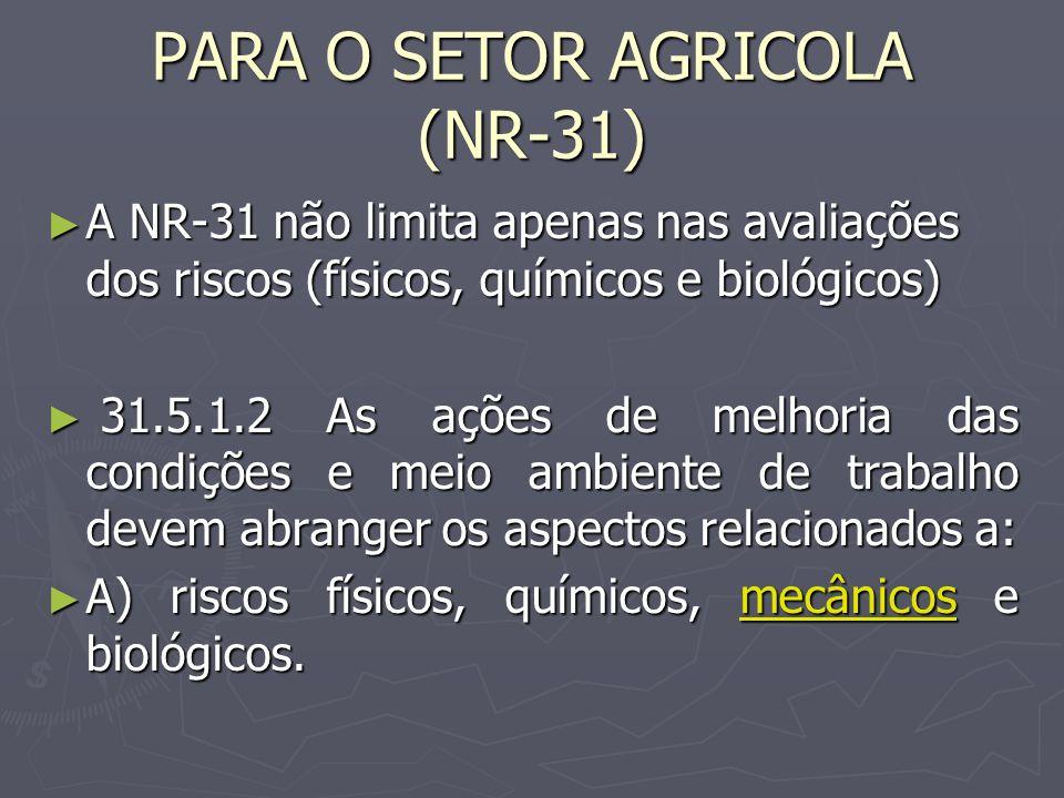 PARA O SETOR AGRICOLA (NR-31)