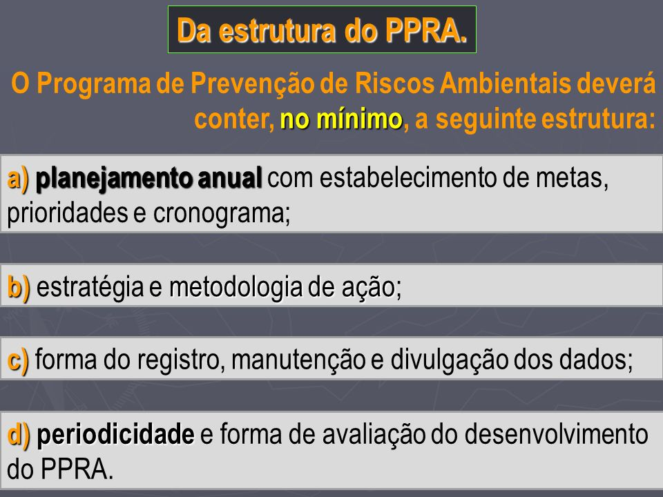 Da estrutura do PPRA. O Programa de Prevenção de Riscos Ambientais deverá conter, no mínimo, a seguinte estrutura: