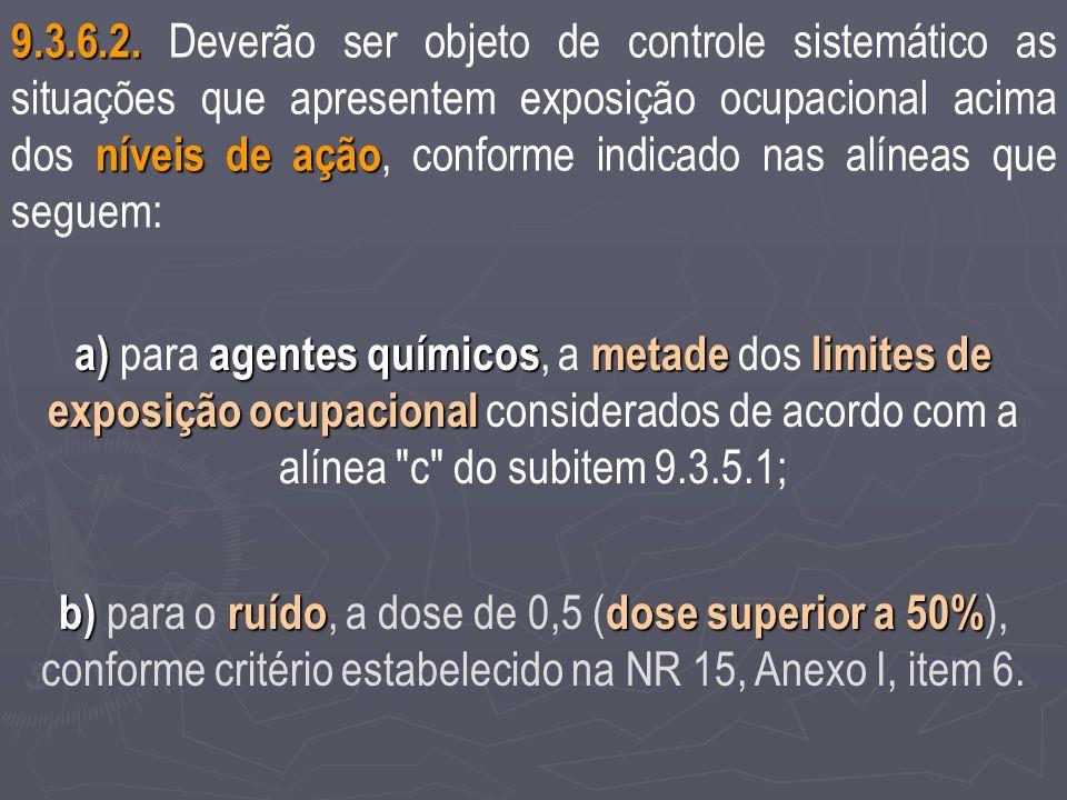9.3.6.2. Deverão ser objeto de controle sistemático as situações que apresentem exposição ocupacional acima dos níveis de ação, conforme indicado nas alíneas que seguem: