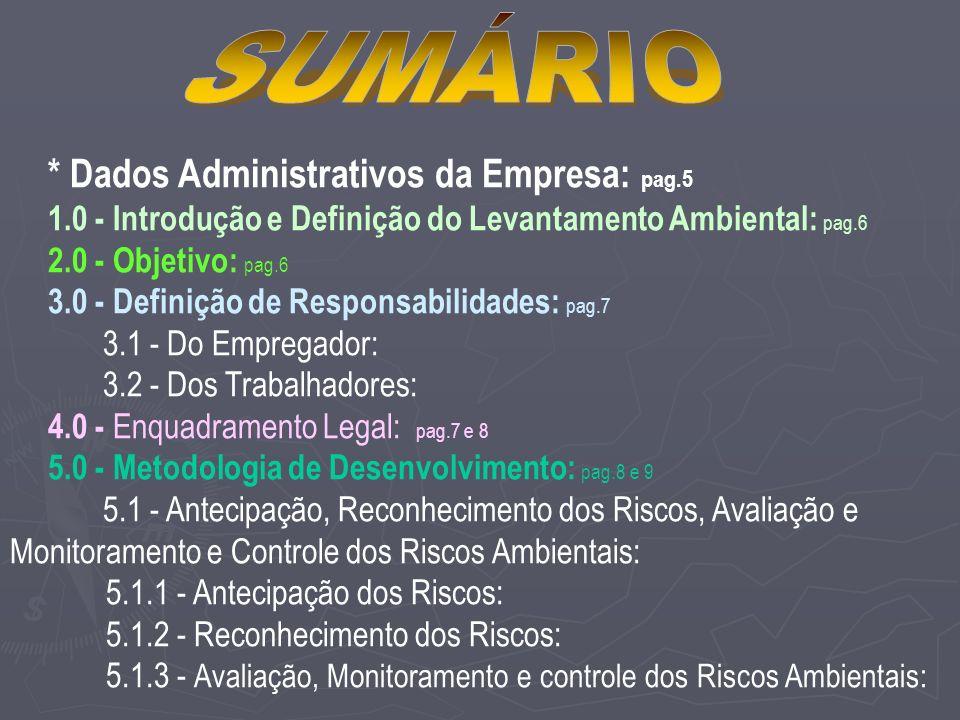 SUMÁRIO * Dados Administrativos da Empresa: pag.5