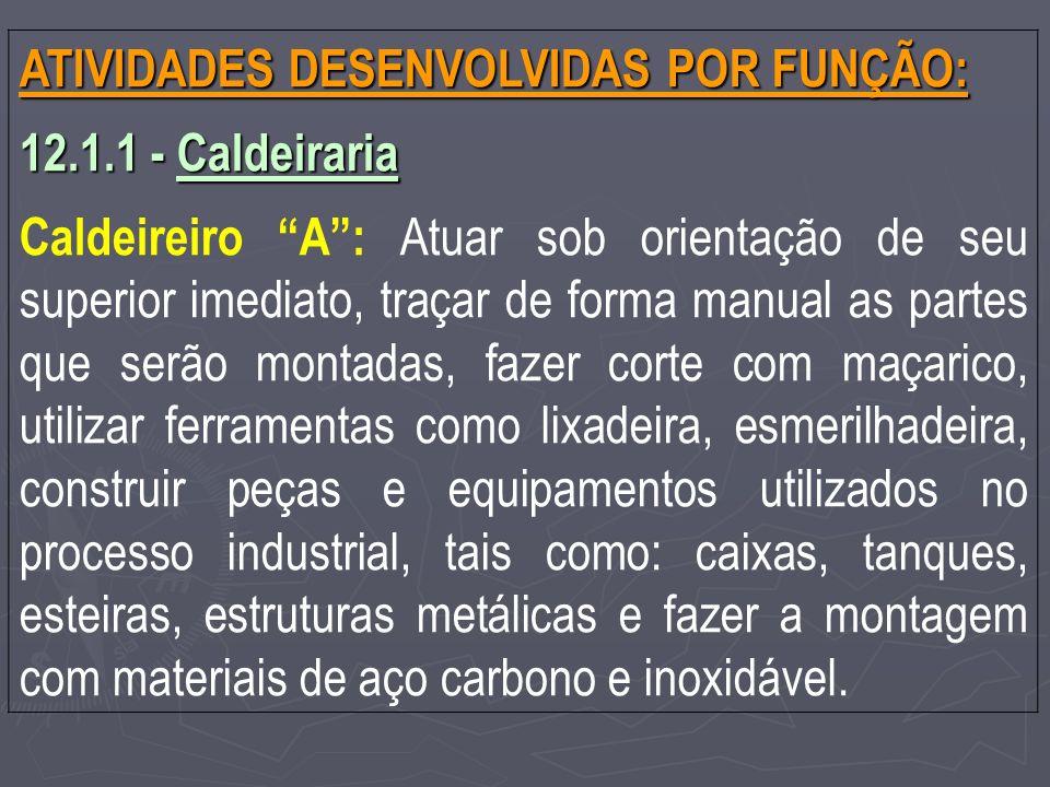 ATIVIDADES DESENVOLVIDAS POR FUNÇÃO: