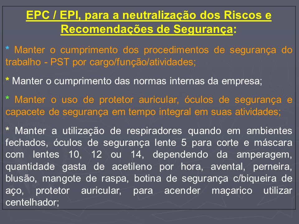 EPC / EPI, para a neutralização dos Riscos e Recomendações de Segurança: