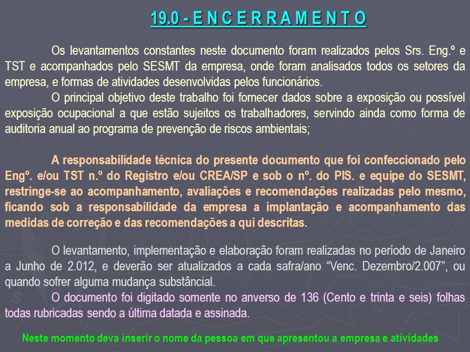 19.0 - E N C E R R A M E N T O