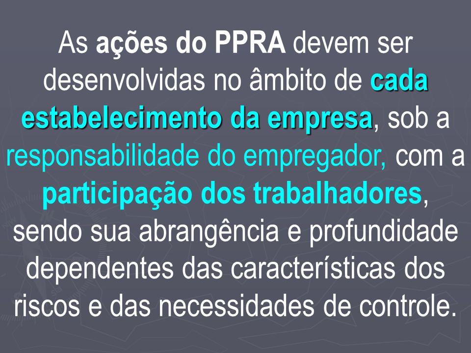 As ações do PPRA devem ser desenvolvidas no âmbito de cada estabelecimento da empresa, sob a responsabilidade do empregador, com a participação dos trabalhadores, sendo sua abrangência e profundidade dependentes das características dos riscos e das necessidades de controle.