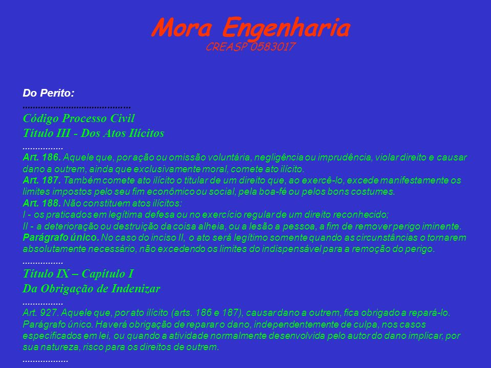 Mora Engenharia Código Processo Civil Título III - Dos Atos Ilícitos
