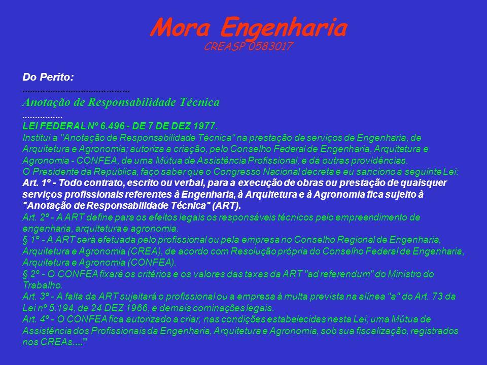 Mora Engenharia Anotação de Responsabilidade Técnica CREASP 0583017