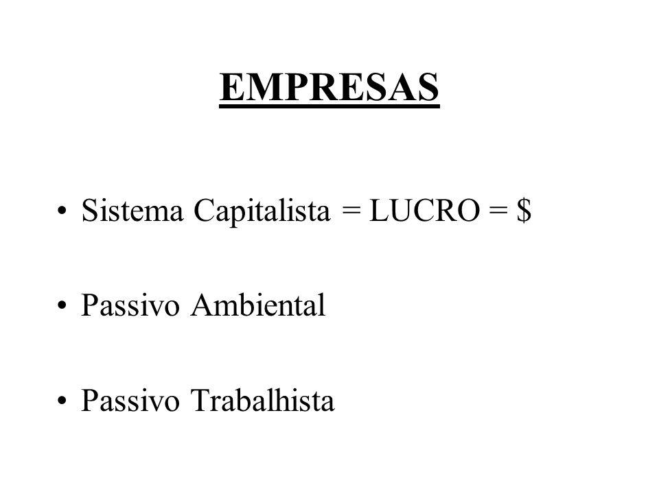 EMPRESAS Sistema Capitalista = LUCRO = $ Passivo Ambiental