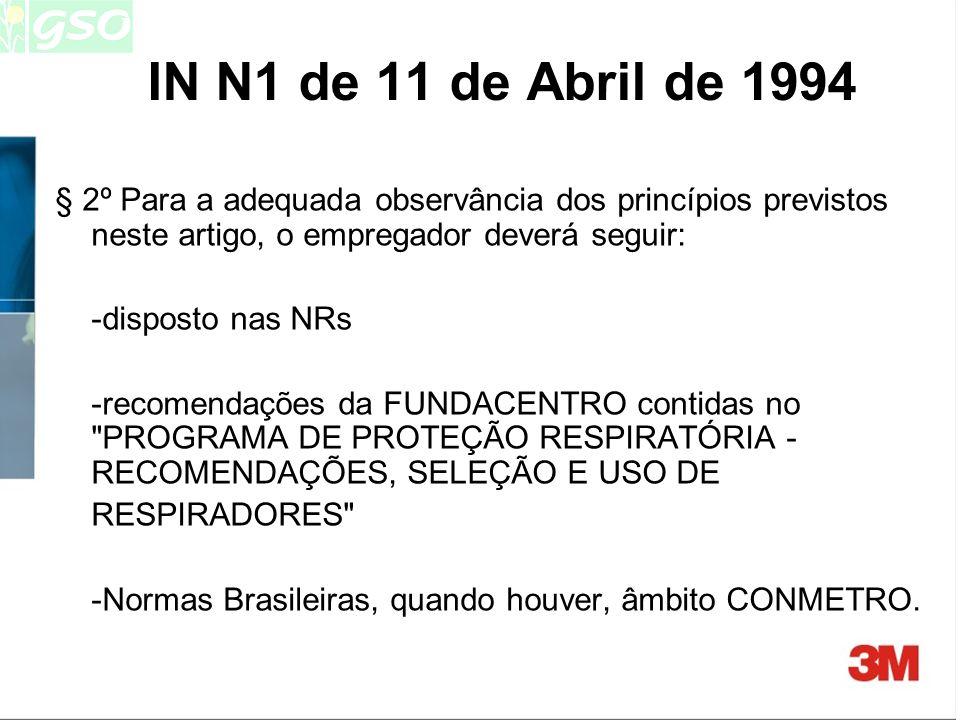 IN N1 de 11 de Abril de 1994 § 2º Para a adequada observância dos princípios previstos neste artigo, o empregador deverá seguir: