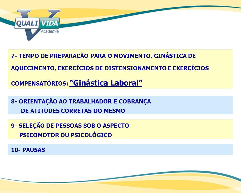 7- TEMPO DE PREPARAÇÃO PARA O MOVIMENTO, GINÁSTICA DE AQUECIMENTO, EXERCÍCIOS DE DISTENSIONAMENTO E EXERCÍCIOS COMPENSATÓRIOS: Ginástica Laboral