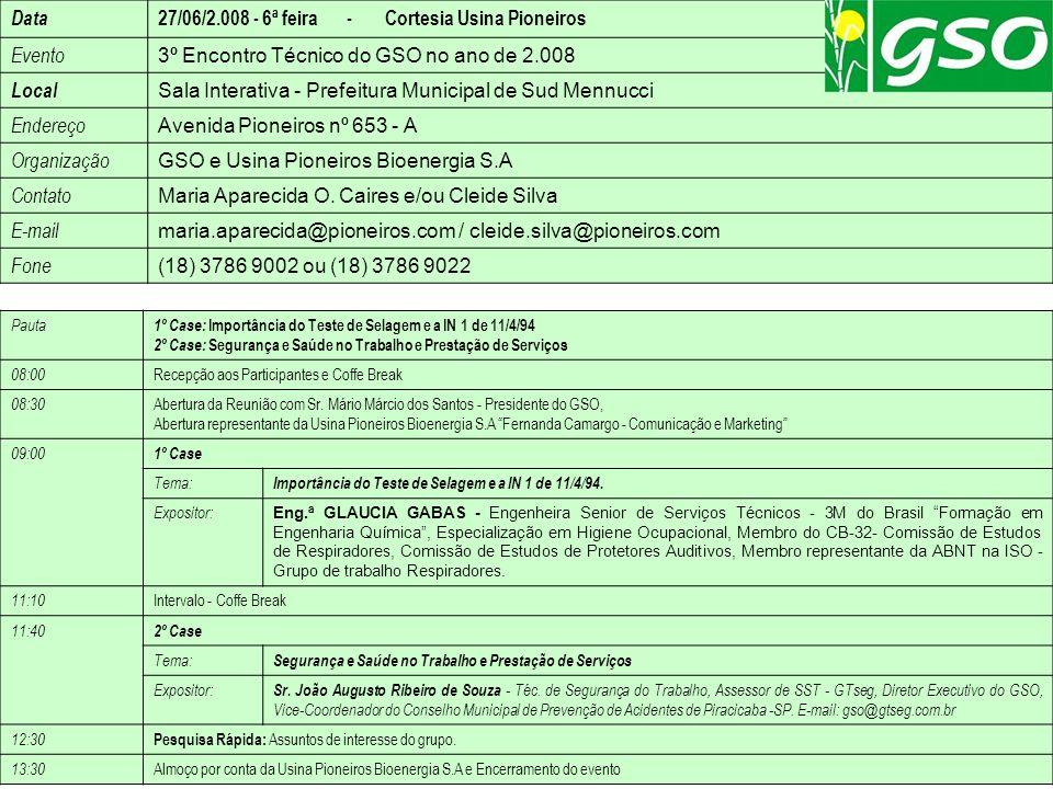 27/06/2.008 - 6ª feira - Cortesia Usina Pioneiros Evento