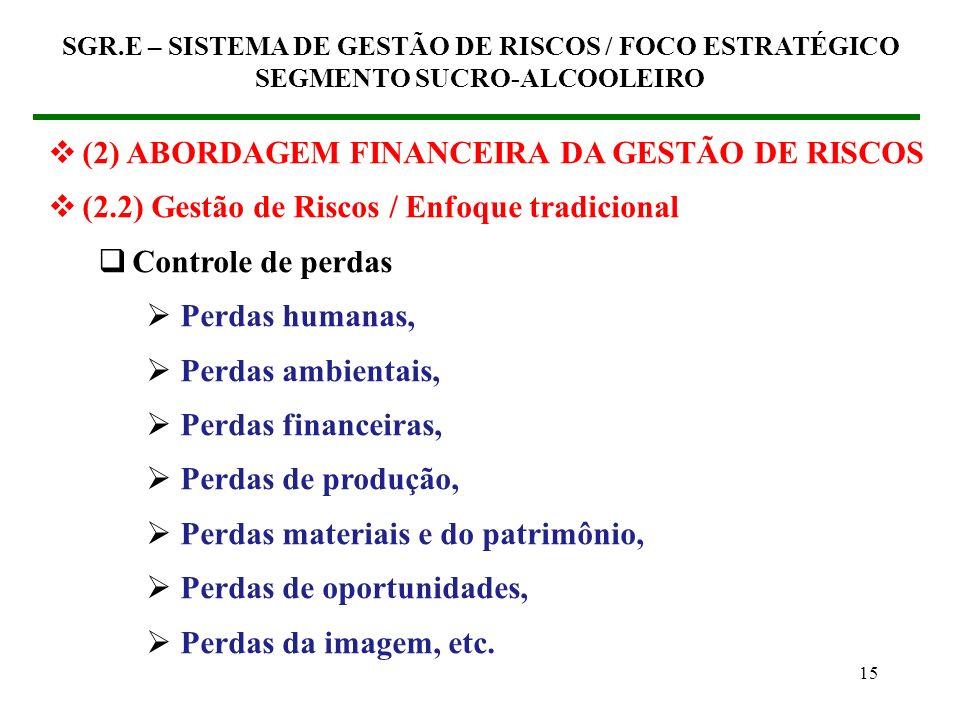 (2) ABORDAGEM FINANCEIRA DA GESTÃO DE RISCOS