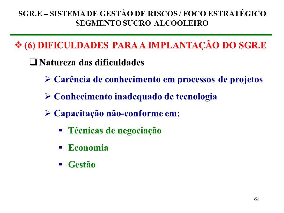 (6) DIFICULDADES PARA A IMPLANTAÇÃO DO SGR.E Natureza das dificuldades