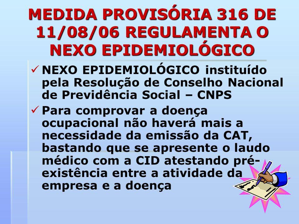 MEDIDA PROVISÓRIA 316 DE 11/08/06 REGULAMENTA O NEXO EPIDEMIOLÓGICO