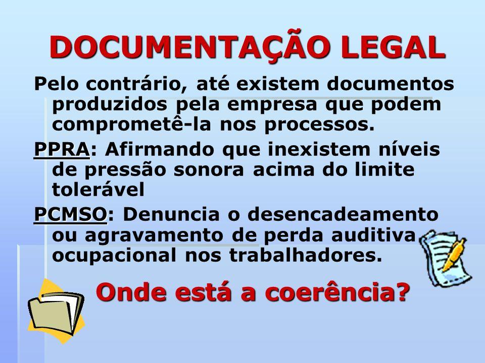 DOCUMENTAÇÃO LEGAL Onde está a coerência