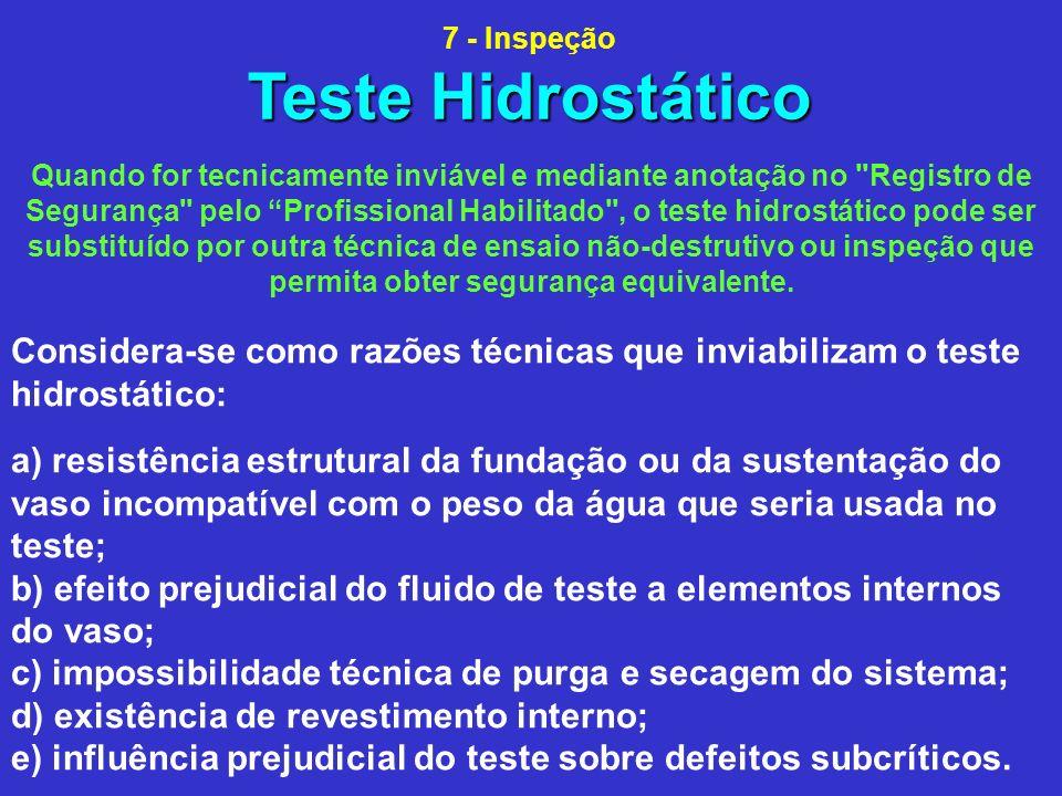 7 - Inspeção Teste Hidrostático.