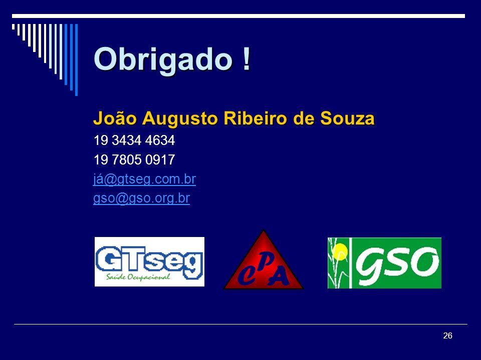 Obrigado ! João Augusto Ribeiro de Souza 19 3434 4634 19 7805 0917