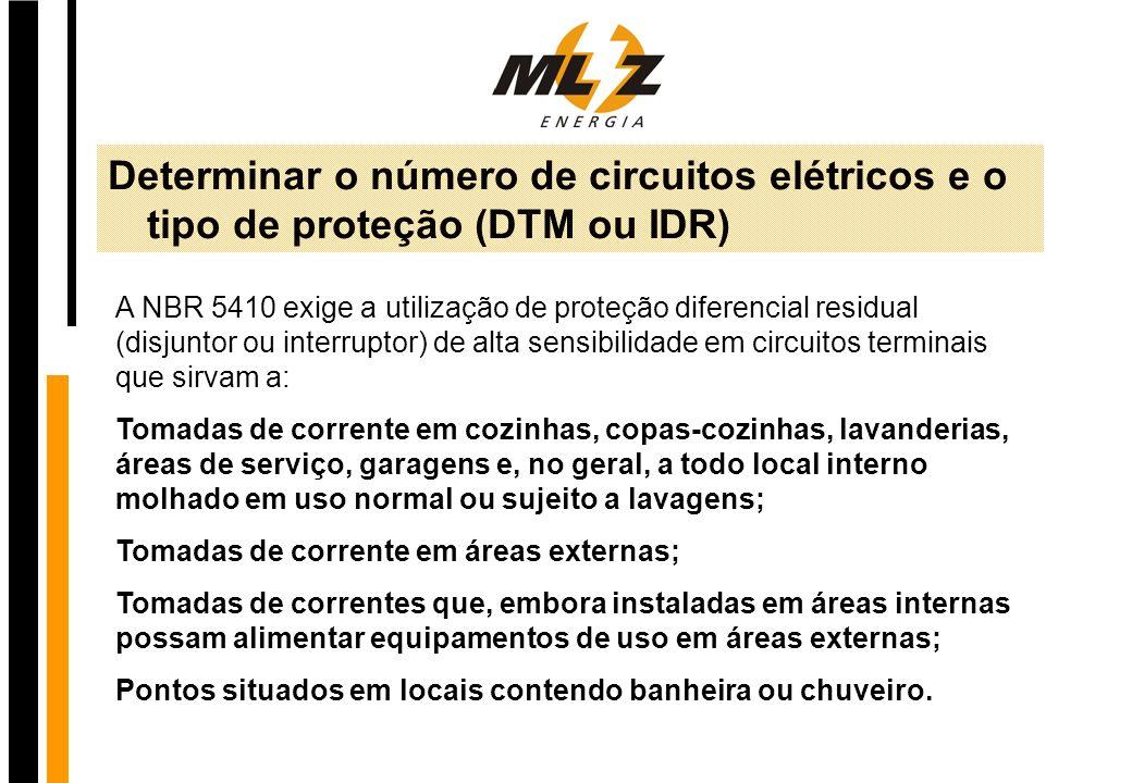 Determinar o número de circuitos elétricos e o tipo de proteção (DTM ou IDR)