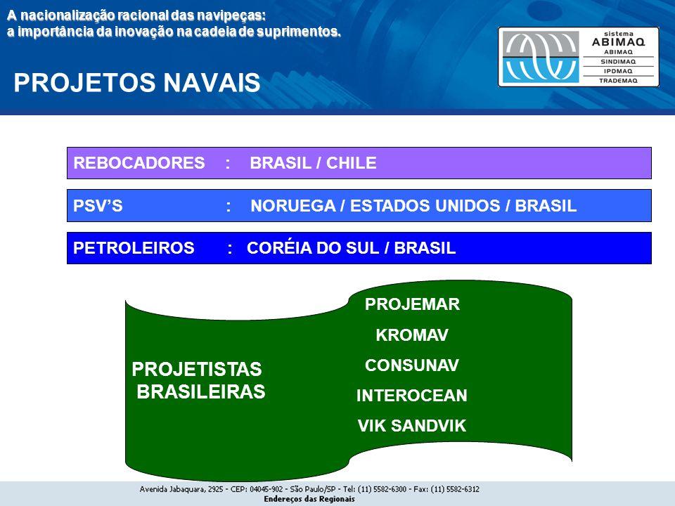 PROJETISTAS BRASILEIRAS REBOCADORES : BRASIL / CHILE