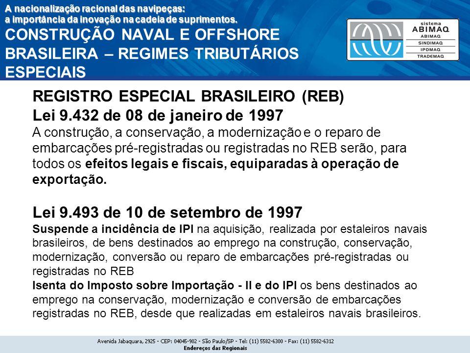REGISTRO ESPECIAL BRASILEIRO (REB) Lei 9.432 de 08 de janeiro de 1997