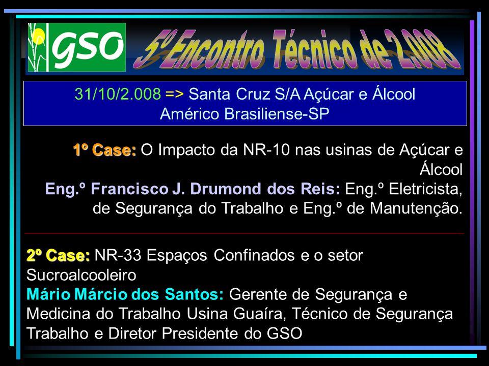 5º Encontro Técnico de 2.008 31/10/2.008 => Santa Cruz S/A Açúcar e Álcool. Américo Brasiliense-SP.