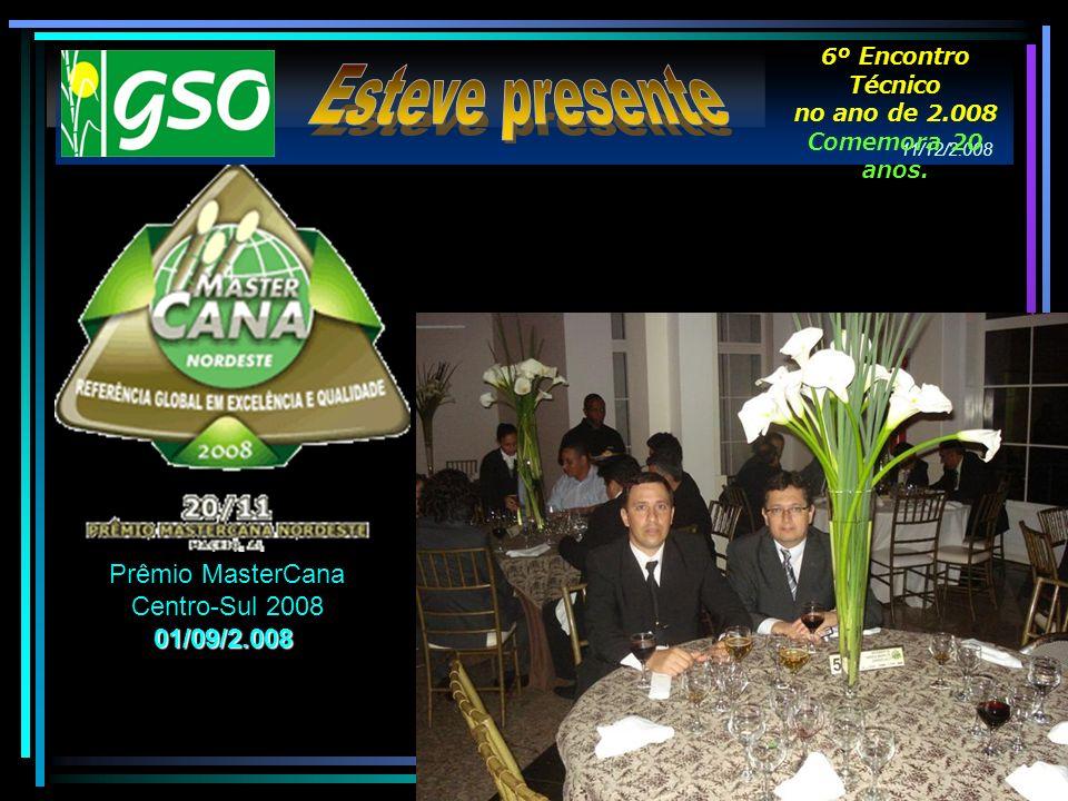 Esteve presente Prêmio MasterCana Centro-Sul 2008 01/09/2.008