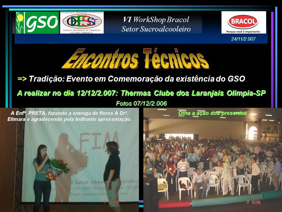A realizar no dia 12/12/2.007: Thermas Clube dos Laranjais Olimpia-SP