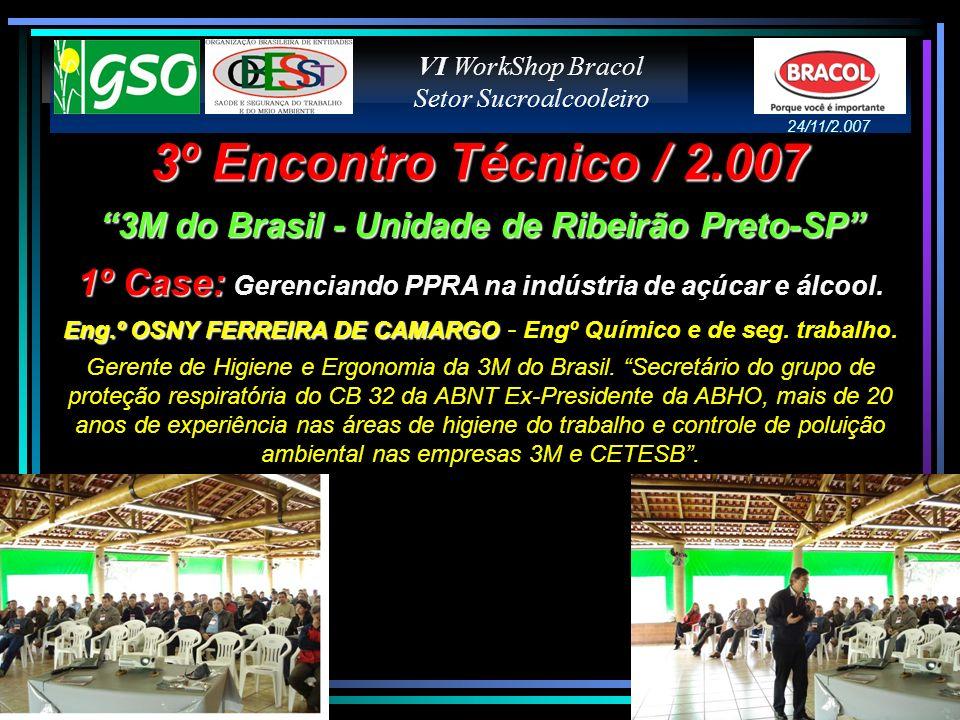 VI WorkShop Bracol Setor Sucroalcooleiro. 24/11/2.007. 3º Encontro Técnico / 2.007. 3M do Brasil - Unidade de Ribeirão Preto-SP