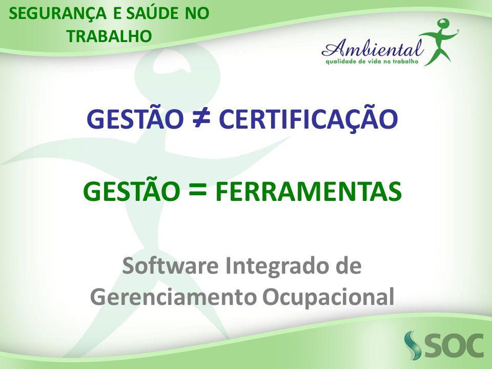 GESTÃO ≠ CERTIFICAÇÃO GESTÃO = FERRAMENTAS