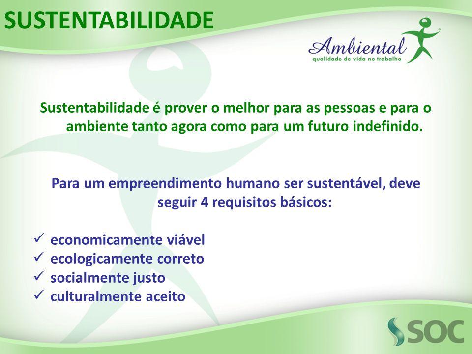 SUSTENTABILIDADE Sustentabilidade é prover o melhor para as pessoas e para o ambiente tanto agora como para um futuro indefinido.
