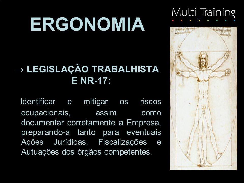 → LEGISLAÇÃO TRABALHISTA E NR-17: