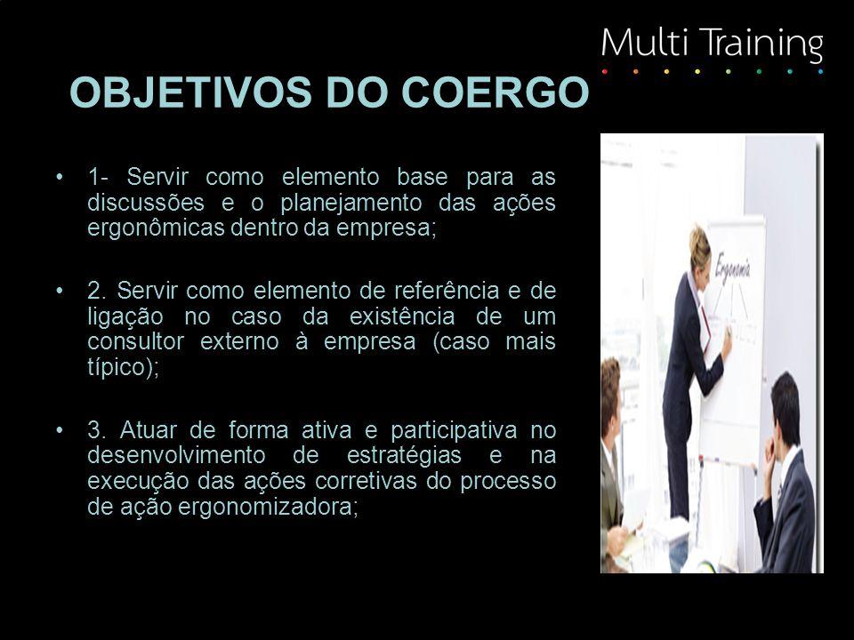 OBJETIVOS DO COERGO 1- Servir como elemento base para as discussões e o planejamento das ações ergonômicas dentro da empresa;