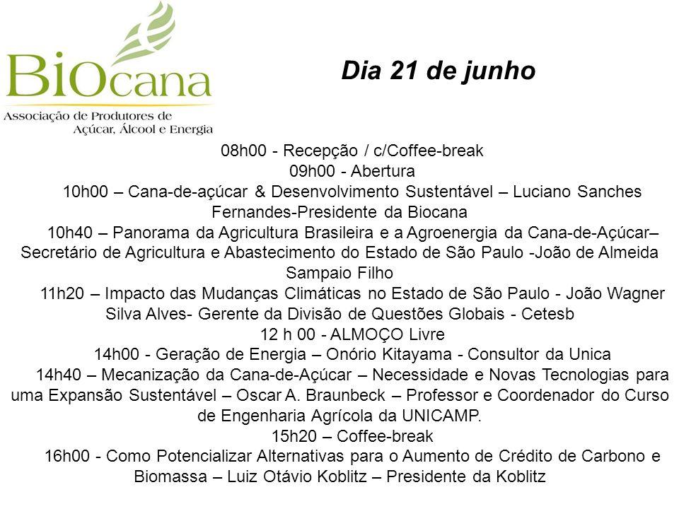 Dia 21 de junho 08h00 - Recepção / c/Coffee-break 09h00 - Abertura