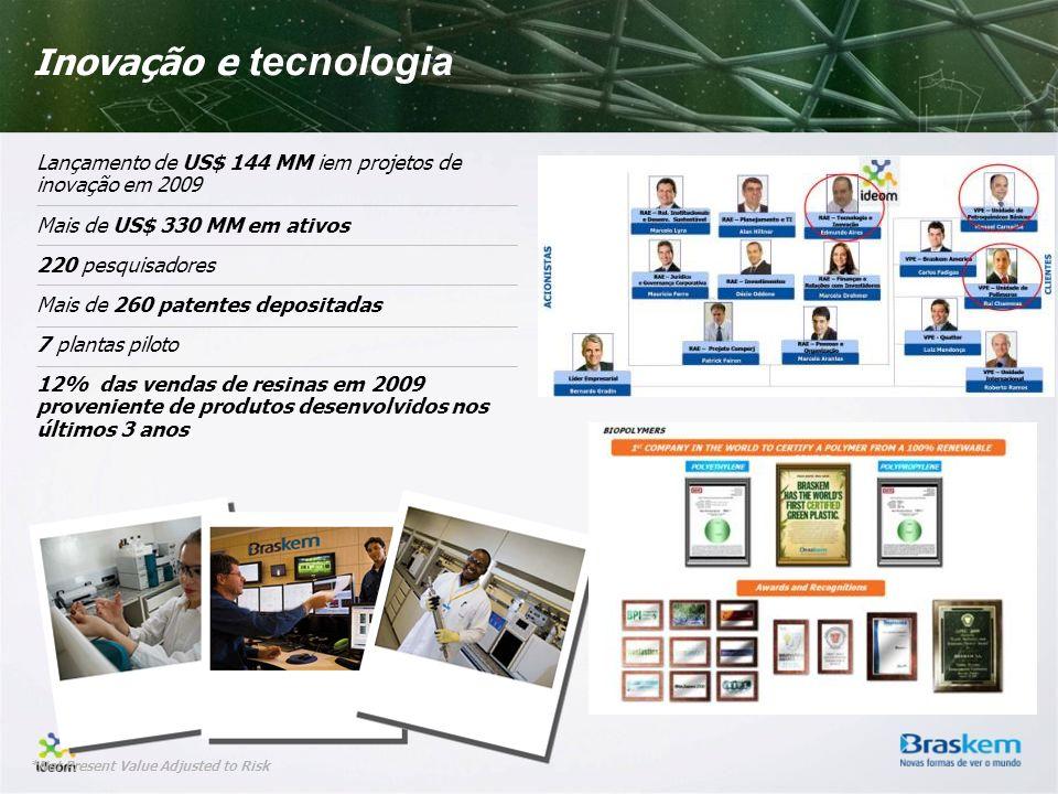 Inovação e tecnologia Lançamento de US$ 144 MM iem projetos de inovação em 2009. Mais de US$ 330 MM em ativos.