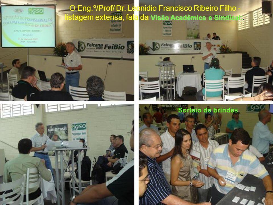 O Eng.º/Prof/ Dr. Leonidio Francisco Ribeiro Filho - listagem extensa, fala da Visão Acadêmica e Sindical:.