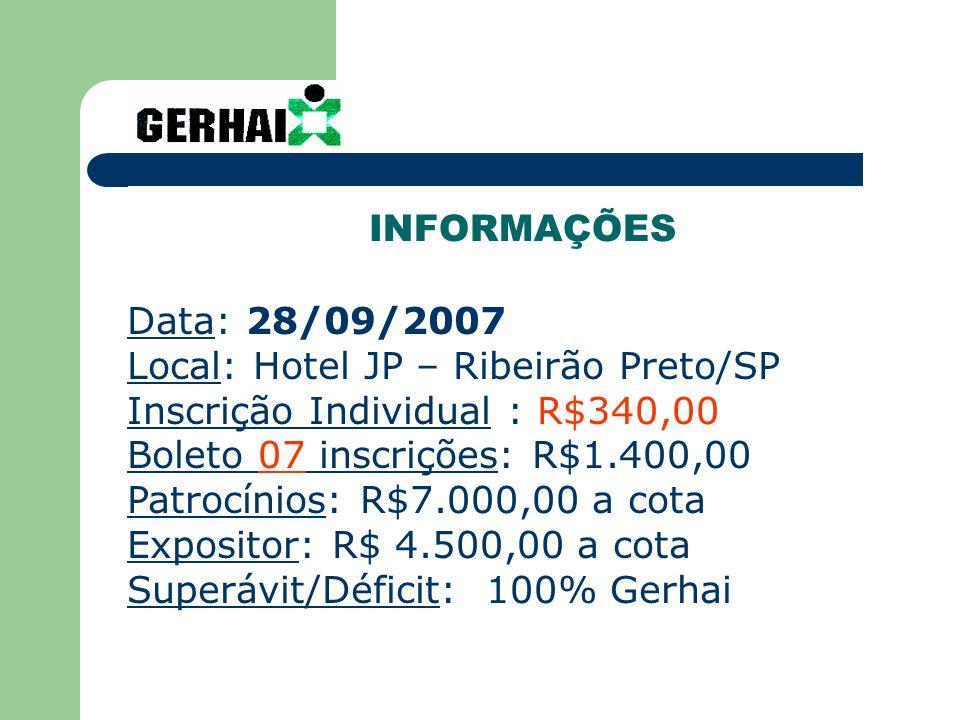 INFORMAÇÕESData: 28/09/2007. Local: Hotel JP – Ribeirão Preto/SP. Inscrição Individual : R$340,00. Boleto 07 inscrições: R$1.400,00.