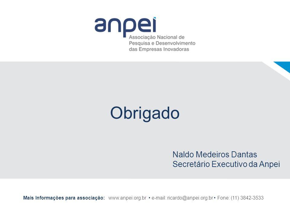 Obrigado Naldo Medeiros Dantas Secretário Executivo da Anpei