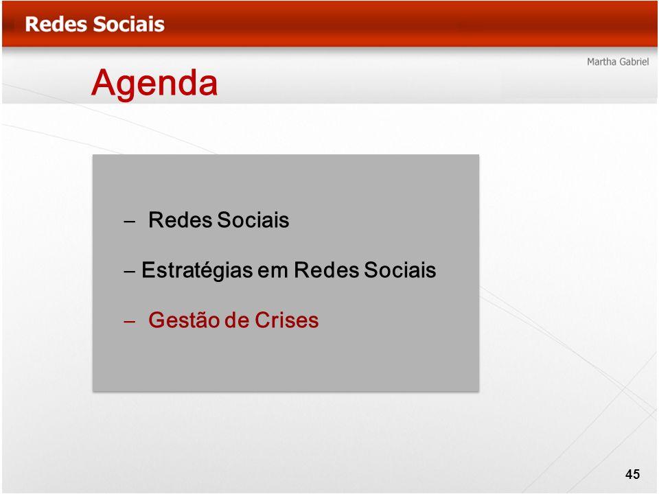Agenda Redes Sociais Estratégias em Redes Sociais Gestão de Crises
