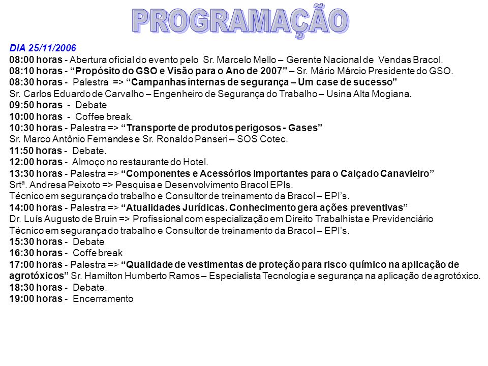 PROGRAMAÇÃO DIA 25/11/2006. 08:00 horas - Abertura oficial do evento pelo Sr. Marcelo Mello – Gerente Nacional de Vendas Bracol.
