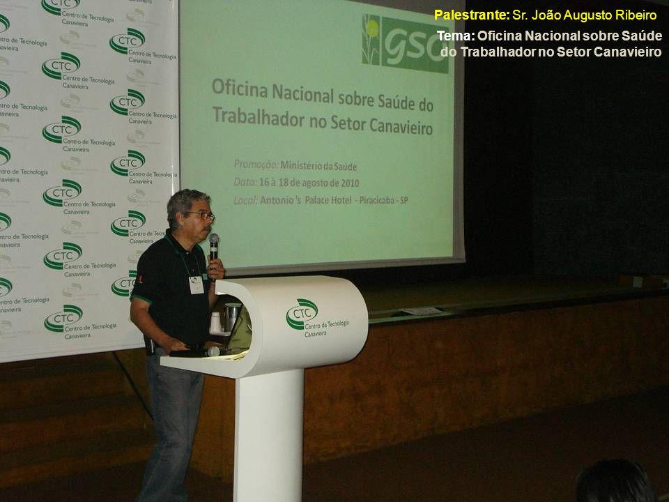 Palestrante: Sr. João Augusto Ribeiro