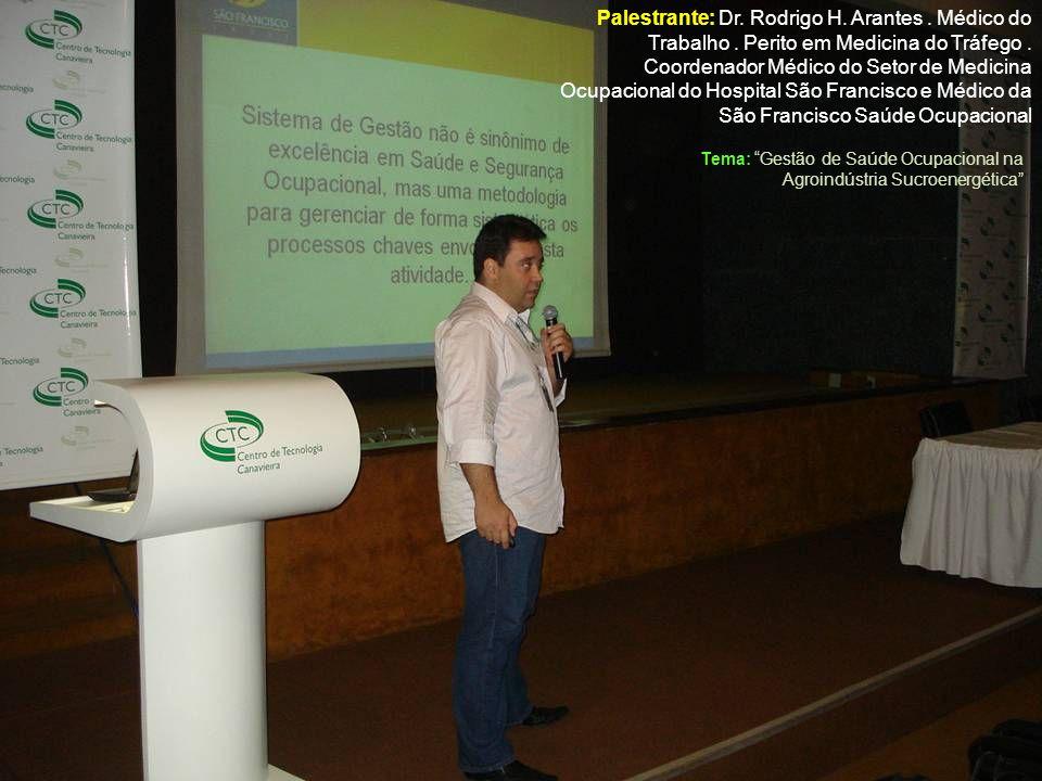 Palestrante: Dr. Rodrigo H. Arantes. Médico do Trabalho