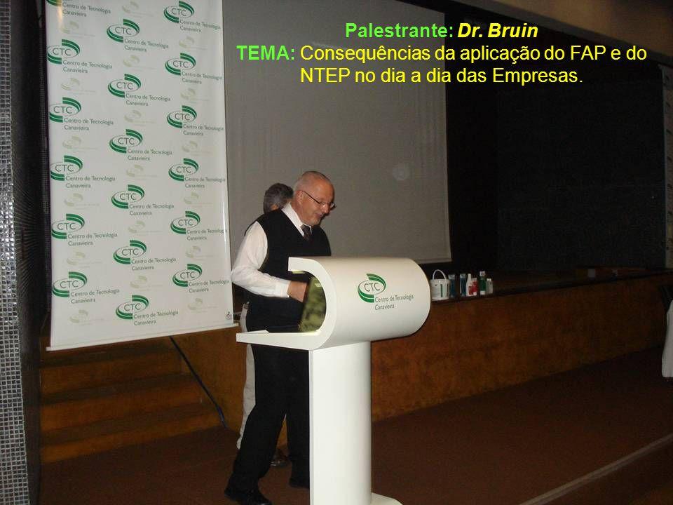 Palestrante: Dr. Bruin TEMA: Consequências da aplicação do FAP e do NTEP no dia a dia das Empresas.