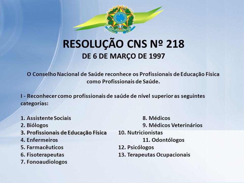 RESOLUÇÃO CNS Nº 218 DE 6 DE MARÇO DE 1997