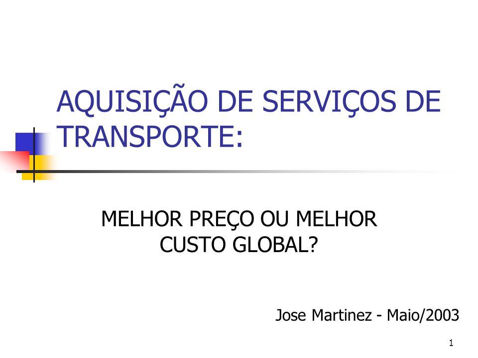 AQUISIÇÃO DE SERVIÇOS DE TRANSPORTE: