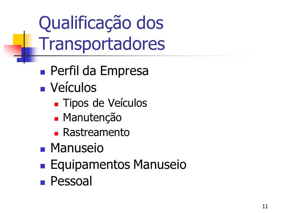Qualificação dos Transportadores