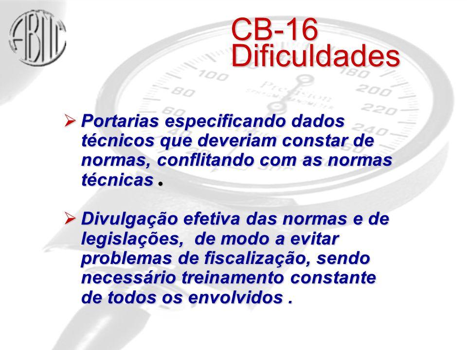 CB-16 Dificuldades Portarias especificando dados técnicos que deveriam constar de normas, conflitando com as normas técnicas .