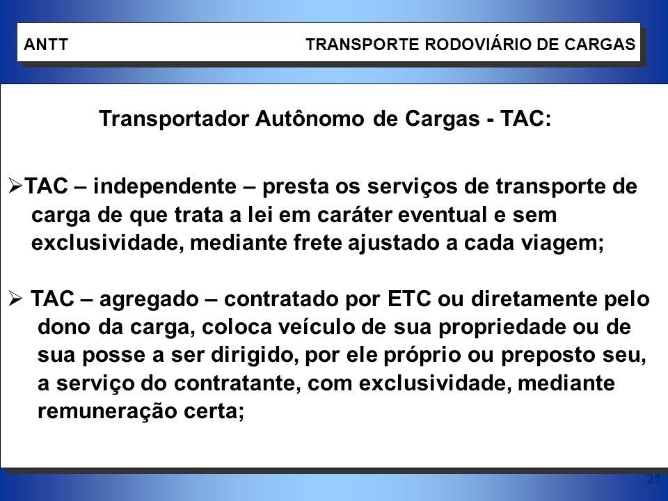 Transportador Autônomo de Cargas - TAC: